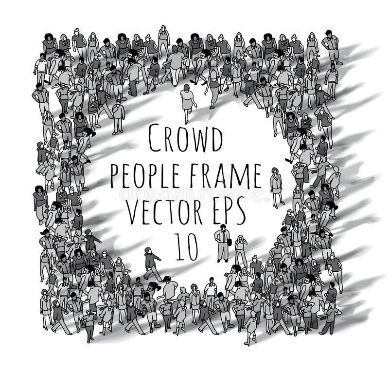 Crowd big group people frame black and white. stock illustration