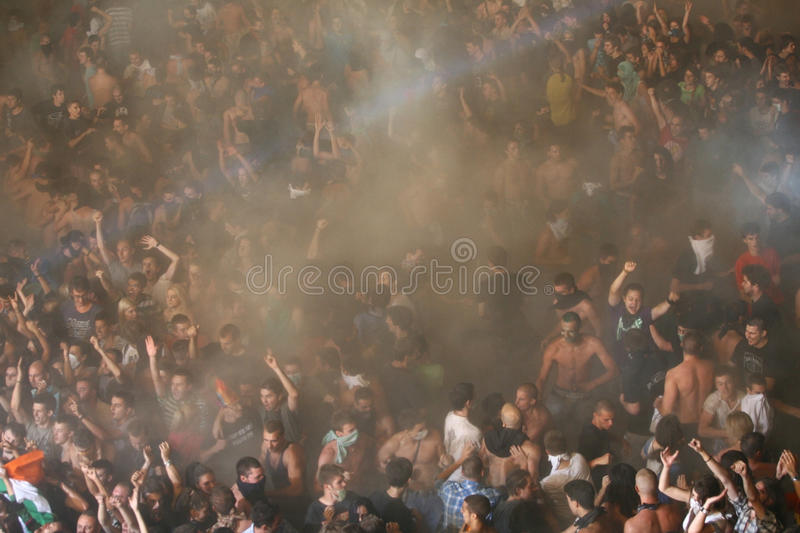 Crowd from the bird`s perspective royalty free stock photography