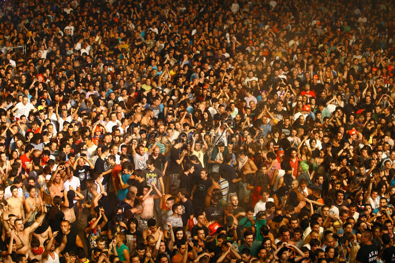 Crowd from the bird`s perspective. Belgrade, Serbia - August 19, 2013: The crowd from the bird`s perspective. Beer Fest is the most visited free festival in royalty free stock images