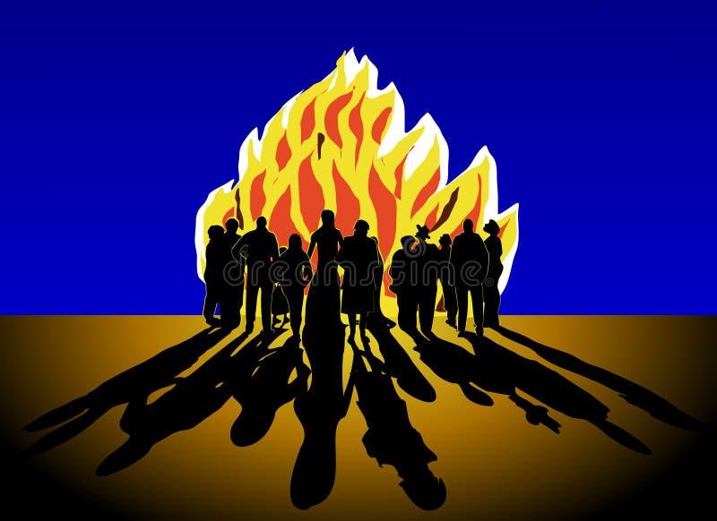 Crowd and bonfire stock illustration