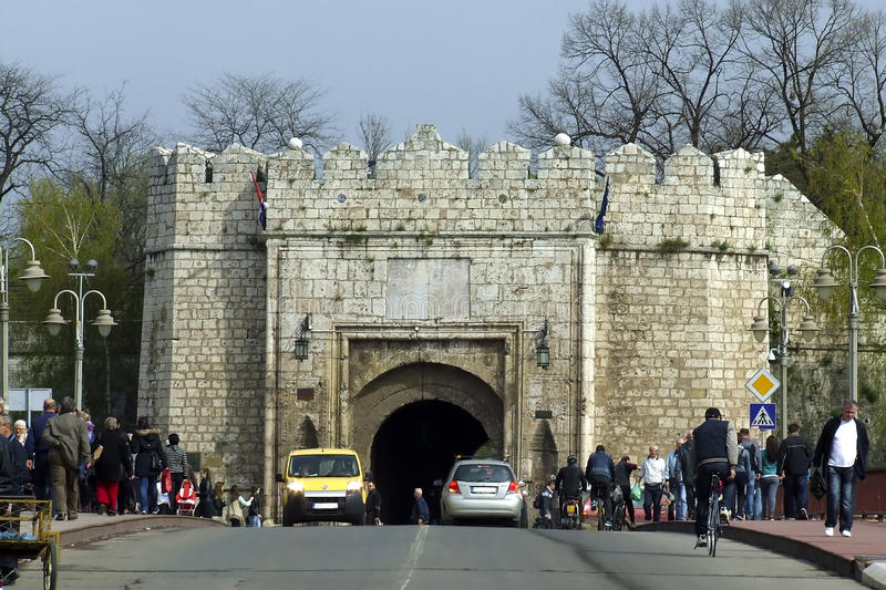 Crowd on the bridge in front of The Fortress in Nis - Serbia royalty free stock images