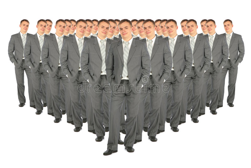 Crowd of business clones collage. Crowd of business clones on white collage royalty free stock images