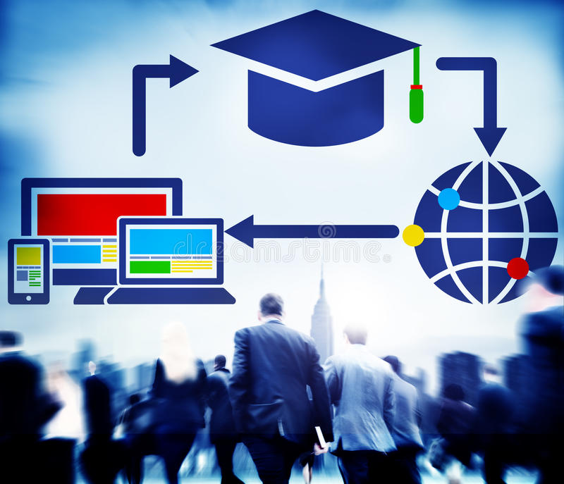 Crowd Business People Education Connection Technology Global Communications Concept.  royalty free stock image