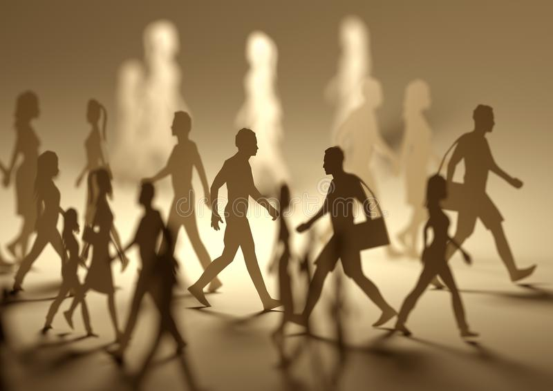 A Crowd of Busy People Walking Around. A crowd of busy people walking on a busy street made out of paper silhouettes. 3D illustration stock photos