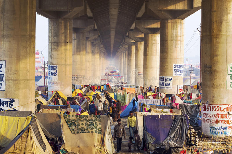 Crowd Camping Under Bridge at Kumbh Mela Festival in Allahabad, stock photography