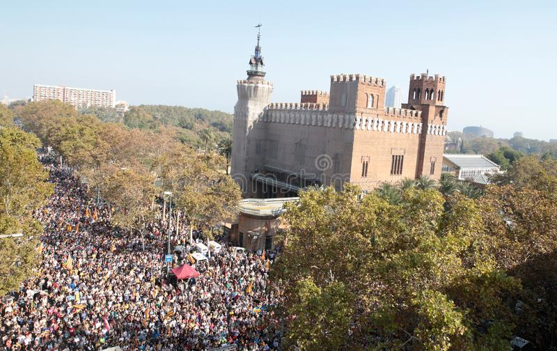 Demonstrators for independence in barcelona royalty free stock images