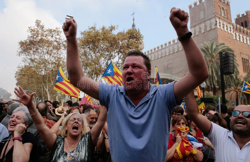 Demonstrators shouting for independence in central barcelona stock photos