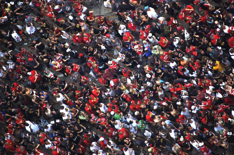 Crowd Celebrates at Chicago Blackhawks' Parade royalty free stock photography