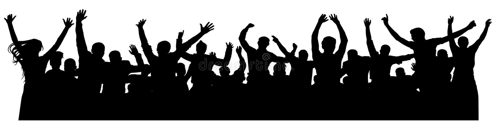 Crowd cheerful people silhouette. Joyful mob. Happy group of young people dancing at musical party, concert, disco. stock illustration