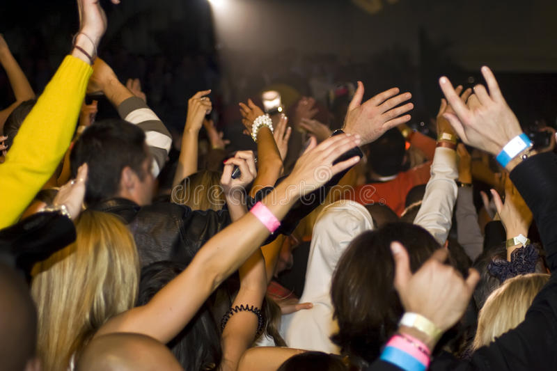 Crowd Cheers At Music Concert royalty free stock images