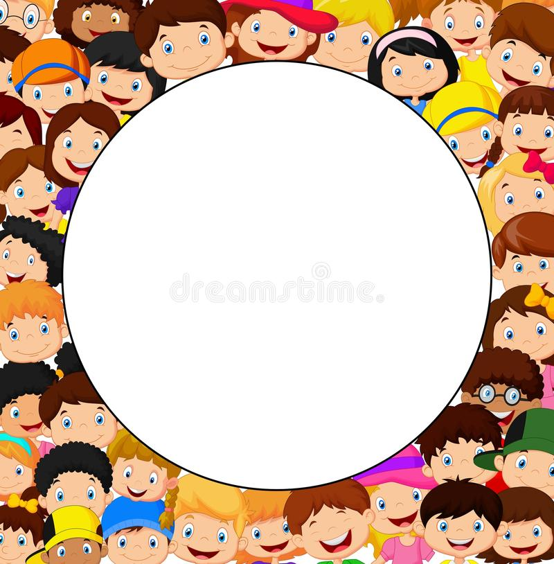Crowd of children cartoon with blank space stock illustration