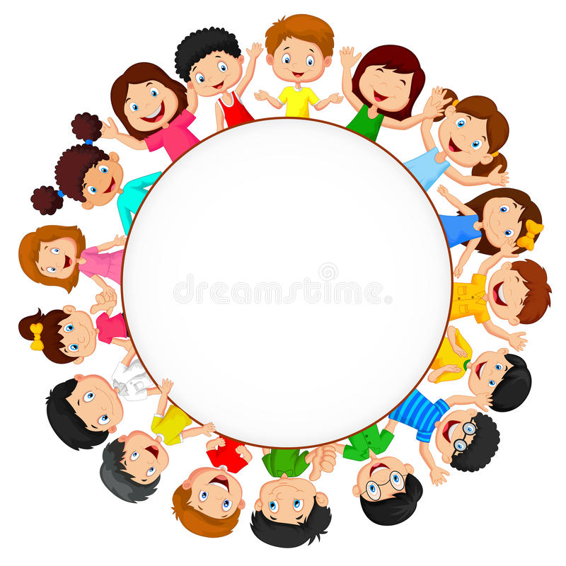 Crowd of children cartoon with blank space vector illustration