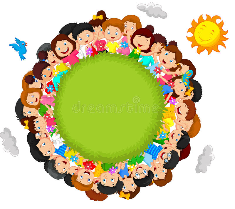 Crowd of children cartoon vector illustration