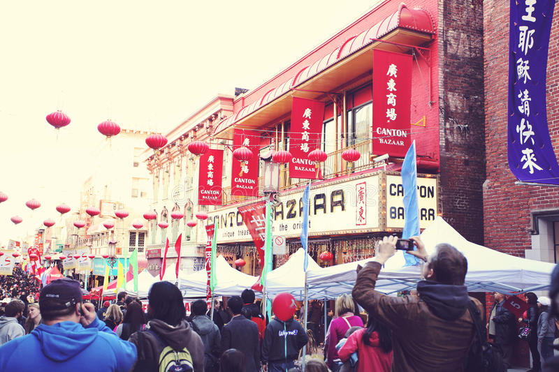 Crowd in China Town in San Francisco. California, USA royalty free stock photography