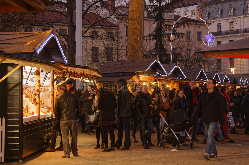 Crowd at the Christmas market. LYON, FRANCE, December 17, 2016 : The Christmas market of Lyon, a village of more than 130 chalets on the Place Carnot allows stock photography