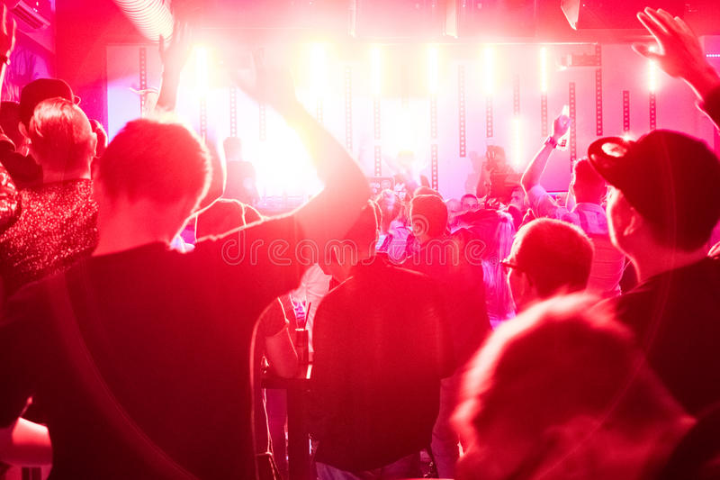 Crowd in the Club. A crowd in a night club royalty free stock image