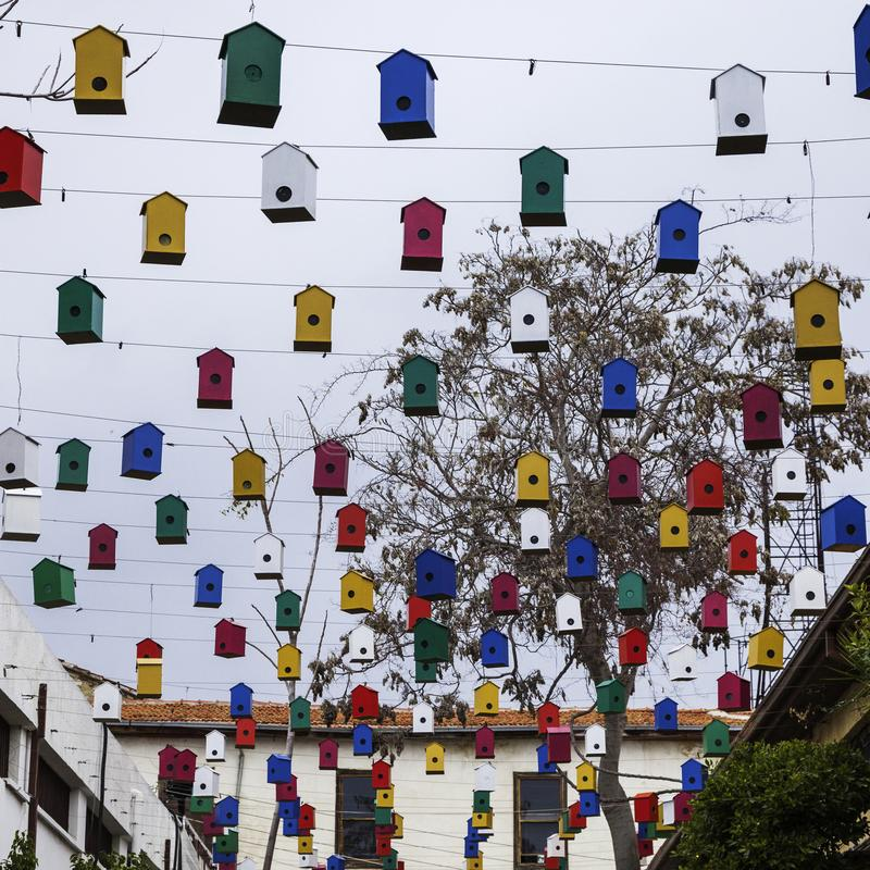 Crowd of Colorful birds houses. Hangings in the old town. Spring time in Cyprus stock photo