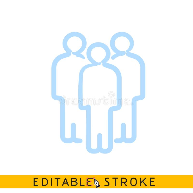 Free Crowd Concept. Three People Group Icon. Editable Stroke Flat Line Icon. Doodle Sketch Royalty Free Stock Image - 157194046