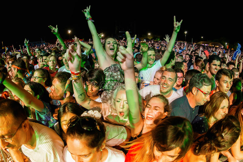 The crowd in a concert at FIB Festival. BENICASSIM, SPAIN - JUL 15: The crowd in a concert at FIB Festival on July 15, 2016 in Benicassim, Spain royalty free stock images