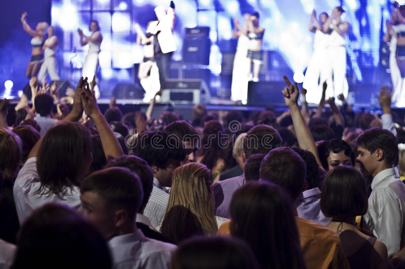A crowd at the concert. Moscow, Russia: a crowd of young people at the concert