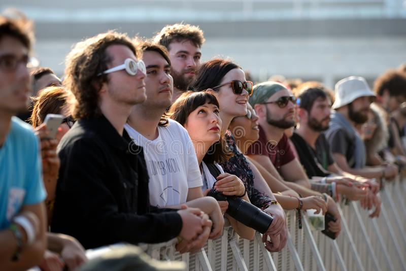 The crowd in a concert at Primavera Sound 2017 Festival royalty free stock images