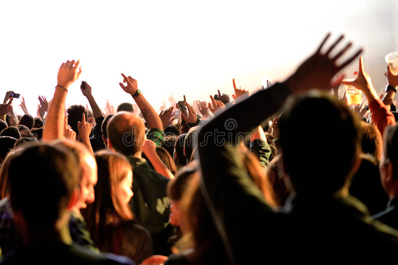 Crowd from a concert at Sonar Festival stock images