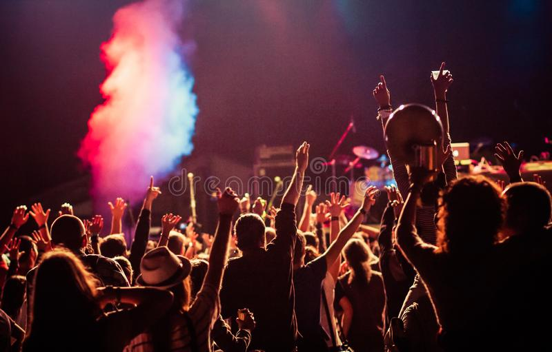 crowd at concert - summer music festival stock photography