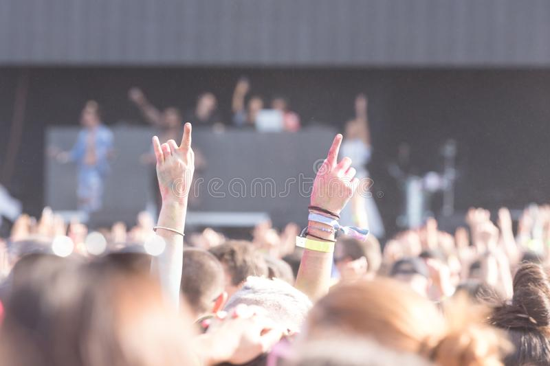 Crowd at concert. Summer music festival. Audience at outdoor festival stock images