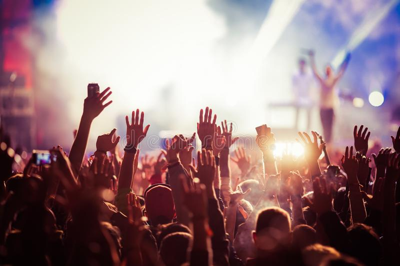 Crowd at concert - summer music festival. Crowd at concert- summer music festival royalty free stock images