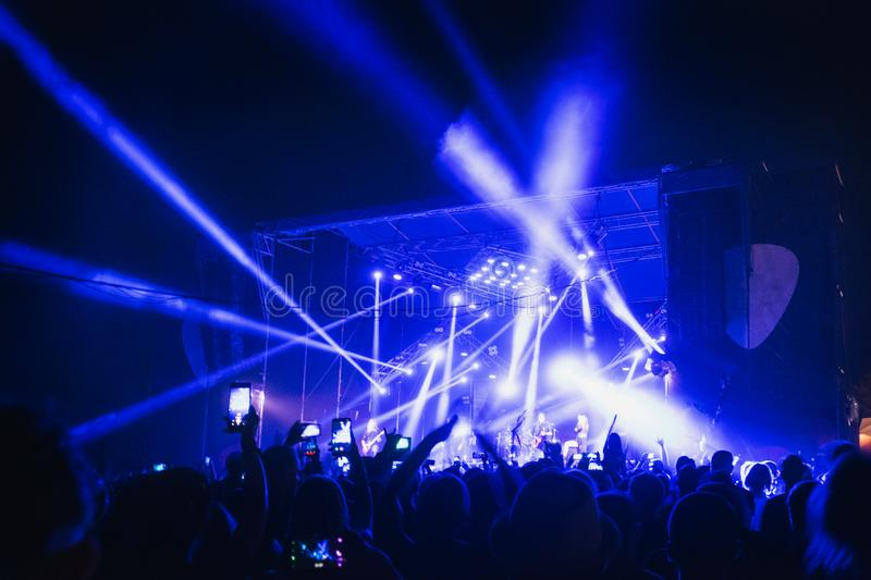 Crowd at concert - summer music festival royalty free stock photos