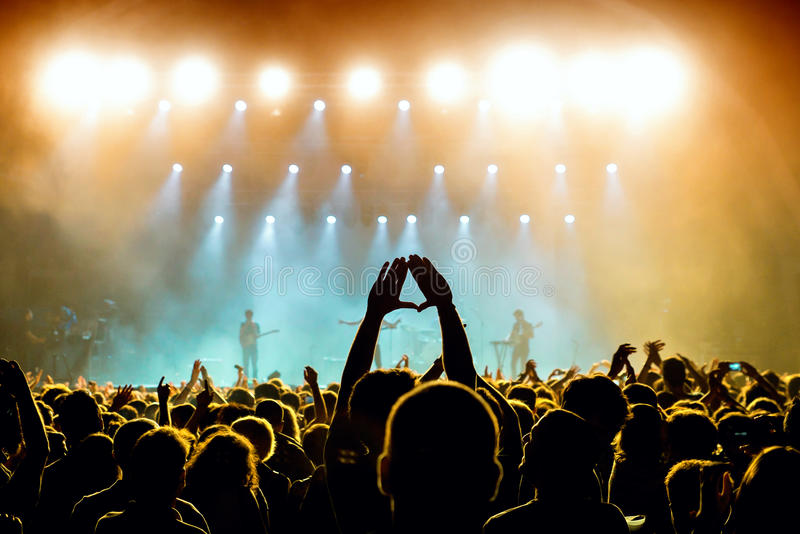 Crowd in a concert at Vida Festival royalty free stock images
