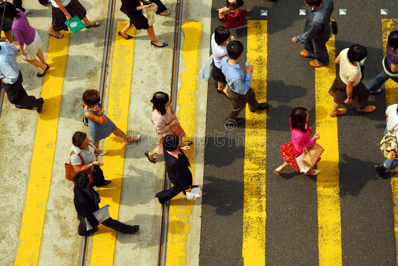 Crowd Crossing royalty free stock images