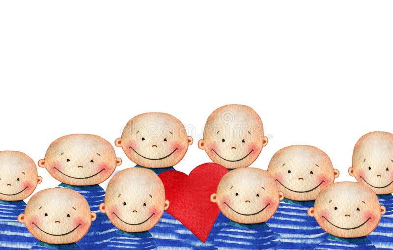 A crowd of cute smiling boy in blue striped T-shirt holding heart. Watercolor background with a crowd of smiling people faces for your design. Hand drawn royalty free stock photos