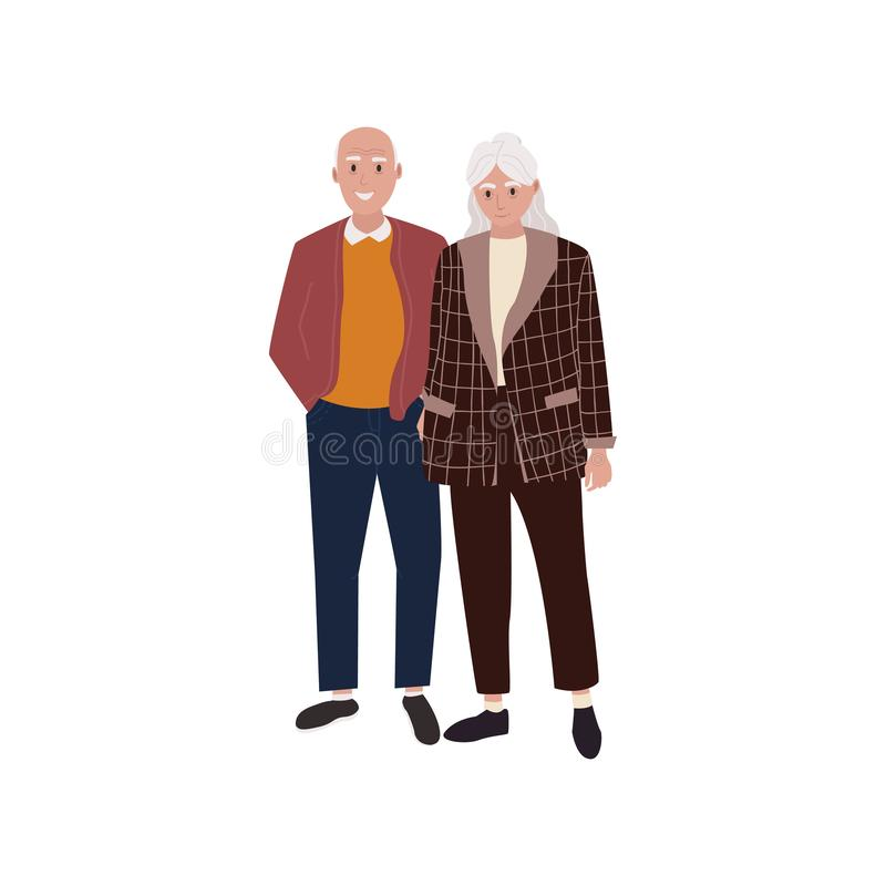 Grandfather and grandmother character. vector illustration