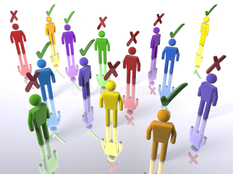 A crowd of diverse voters royalty free illustration