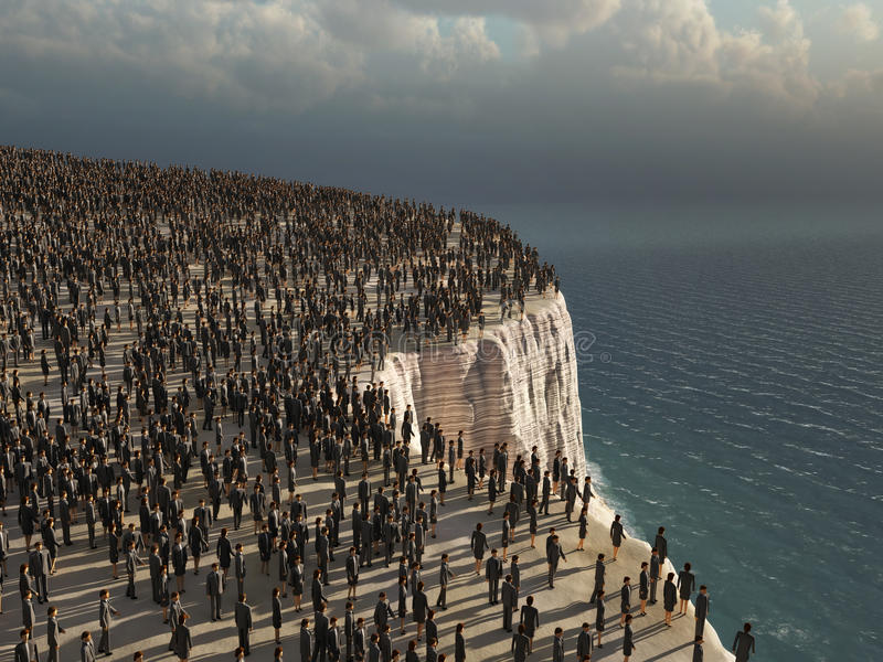 Crowd on the edge of a cliff. Gray crowd on the edge of a cliff stock illustration