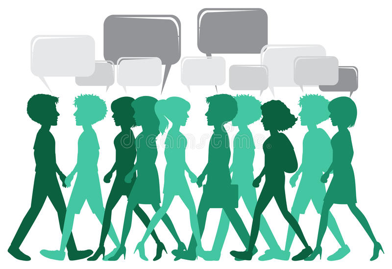 A crowd with empty thoughts. On a white background vector illustration