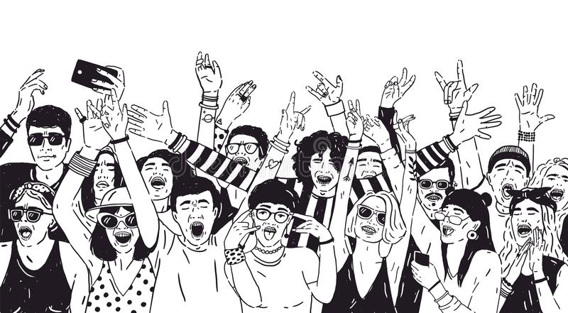 Crowd of excited people or music fans with raised hands. Spectators or audience of summer open air festival hand drawn. With black contour lines on white vector illustration