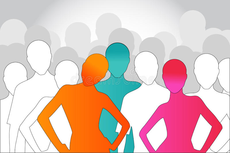 Crowd. Faceless crowd -social leadership cooperation concept vector illustration