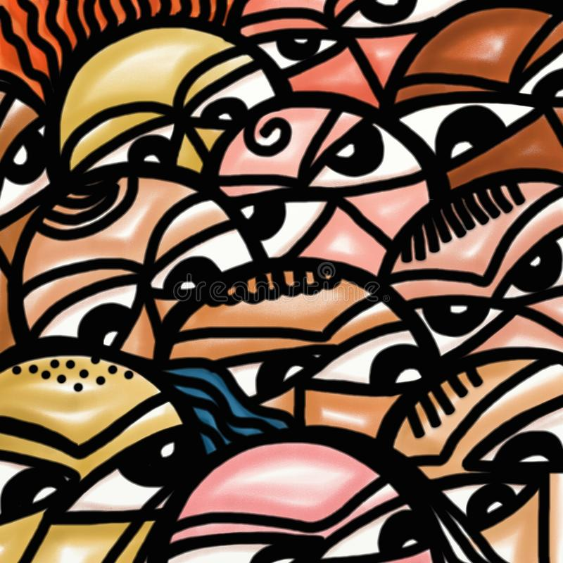 Crowd of Faces royalty free illustration