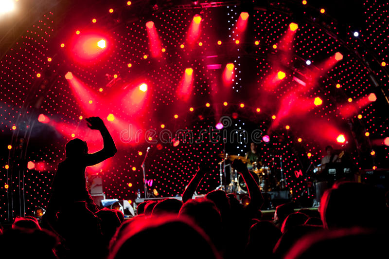 Download Crowd of fans at a concert stock image. Image of excitement - 20908713