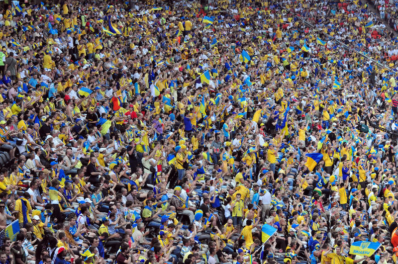 Crowd of fans. A lot of football fans on the stands during EURO championship