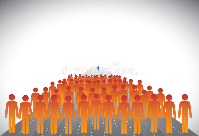Download Crowd Of Followers & Leader Or Employees & Manager- Graphic Stock Vector - Illustration of boss, follow: 30650861