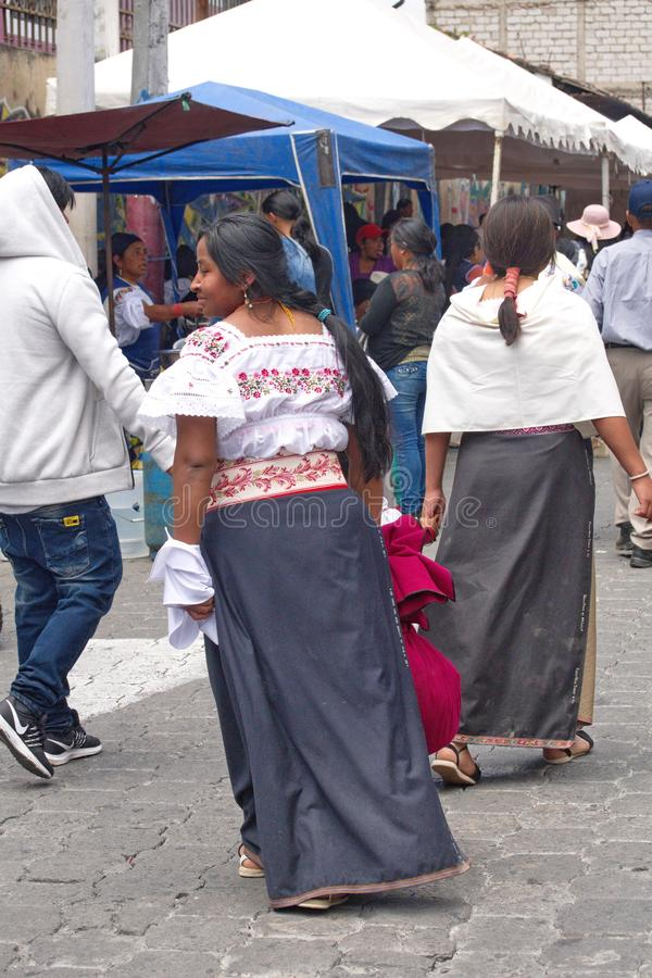 Food vendors in Cotacachi. Crowd in a food court area on Day of the Dead in Cotacachi, Ecuador stock photo