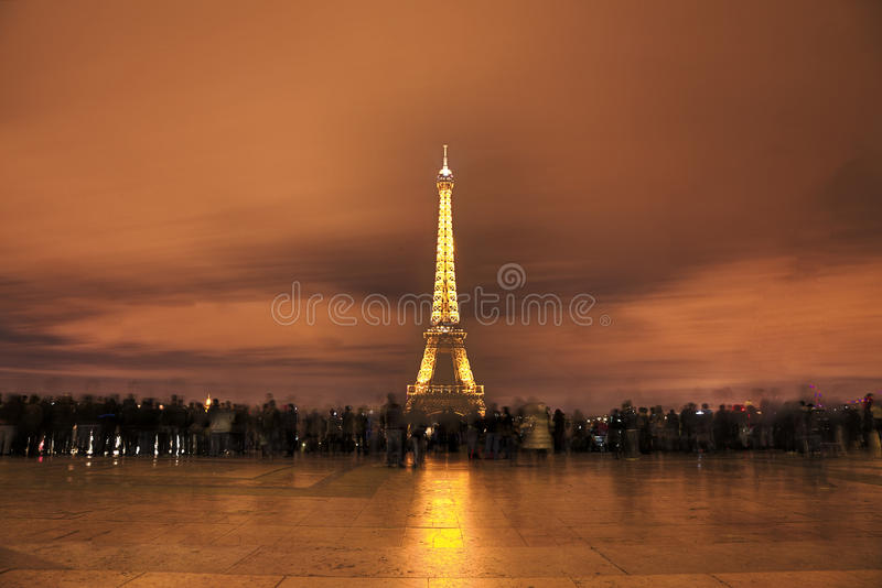 Crowd in Fornt of Eiffel Tower royalty free stock photo