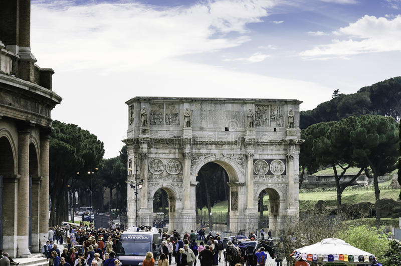 Crowd in front of the Arch of Constantine stock photos