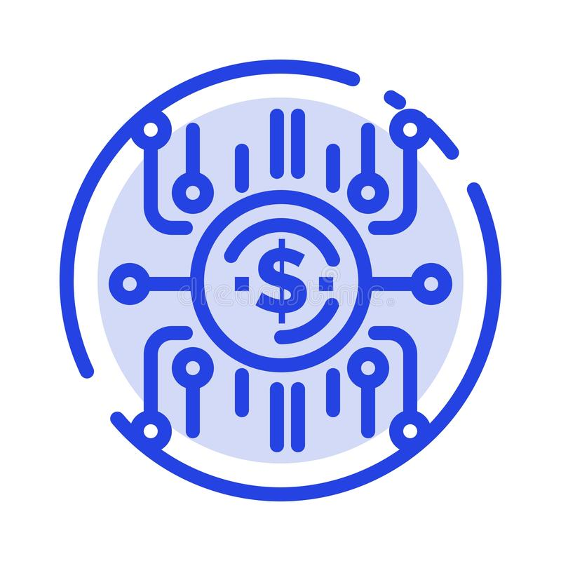 Crowd fund, Crowd funding, Crowd sale, Crowd selling, Funding Blue Dotted Line Line Icon vector illustration
