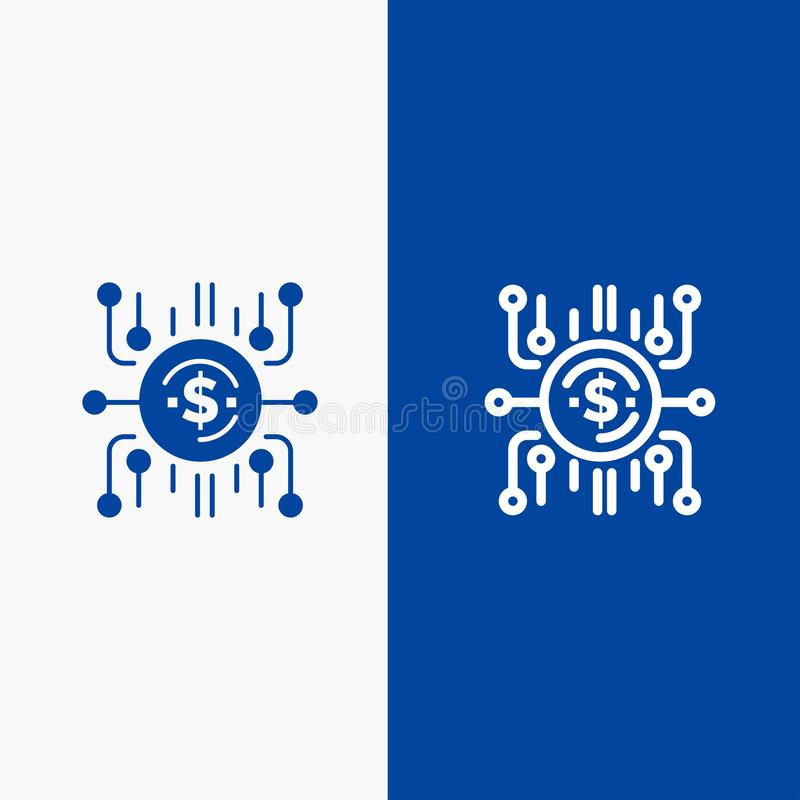 Crowd fund, Crowd funding, Crowd sale, Crowd selling, Funding Line and Glyph Solid icon Blue banner Line and Glyph Solid icon Blue. Banner vector illustration