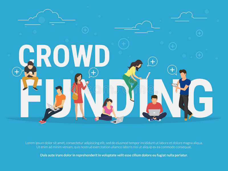 Crowd funding concept illustration vector illustration