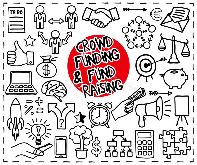 Crowd funding doodle set royalty free illustration